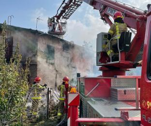 Pożar budynku gospodarczego w Orzeszu